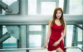 Lovely red skirt Asian girl, look