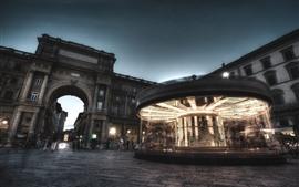 Madrid, espanha, carrossel, rua, noturna, luzes