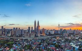 Малайзия, город, небоскребы, башня, сумерки