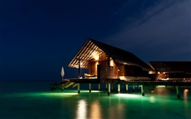 Preview wallpaper Maldives, house, sea, night, lights
