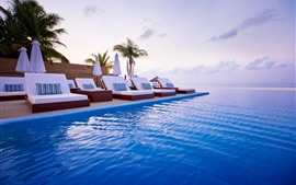 Preview wallpaper Maldives, sun lounger, sea, pool, resort