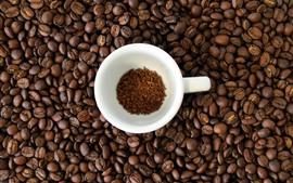 Beaucoup de grains de café, tasse blanche