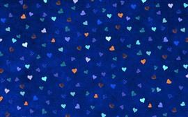 Многие любят сердца, синий фон