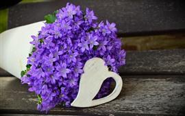 Preview wallpaper Many purple flowers, vase, bouquet