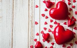 Aperçu fond d'écran Beaucoup de coeurs d'amour rouges, planche de bois