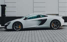 McLaren, white supercar side view