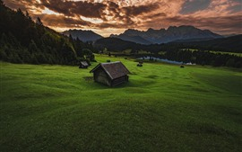 Meadow, hut, trees, mountains, dusk, clouds