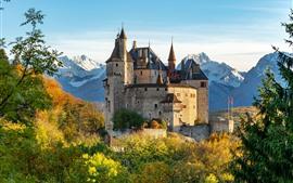 壁紙のプレビュー マントン、城、木々、山々、フランス