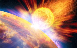 Preview wallpaper Meteor, fire, planet, space
