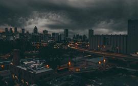 Montreal, Canadá, noche de la ciudad, edificios, luces
