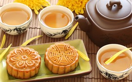 Preview wallpaper Mooncake, tea, Chinese culture