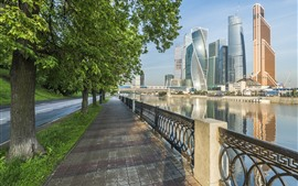 Preview wallpaper Moscow, Russia, city, skyscrapers, river, road, trees