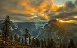 Mountains, clouds, sun rays, sunset, trees, grass