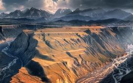 Montañas, nubes, valle, acantilado, río, paisaje natural.