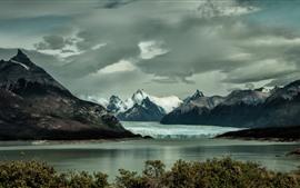 Montañas, iceberg, nieve, lago, invierno.
