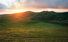 미리보기 배경 화면 산, 도로, 잔디, 일출, 자연 경관