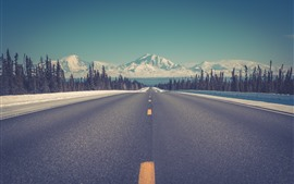 Preview wallpaper Mountains, road, snow, winter, trees