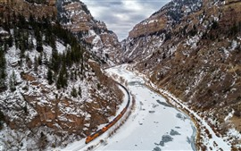 Mountains, snow, river, railroad, train, winter