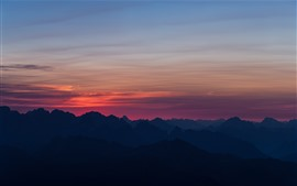 Montanhas, pôr do sol, céu, nuvens