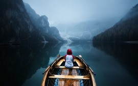 Preview wallpaper Mountains, trees, boat, lake, water reflection, fog, morning