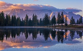 Preview wallpaper Mountains, trees, lake, water reflection, morning