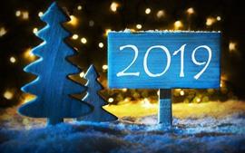 Новый год 2019, вывеска, деревья, снег