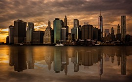 Preview wallpaper New York, skyscrapers, city, dusk, river, water reflection, USA
