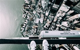 New York, top view, feet, helicopter