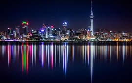 Preview wallpaper New Zealand, skyscrapers, buildings, river, city night, illumination