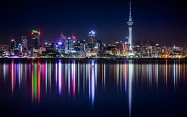 壁紙のプレビュー ニュージーランド、高層ビル、建物、川、都市の夜、イルミネーション
