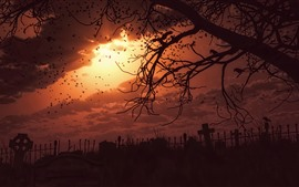Preview wallpaper Night, darkness, cemetery, crows, terror, art picture