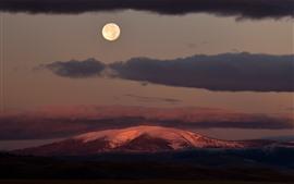 Noite, lua, montanhas, nuvens