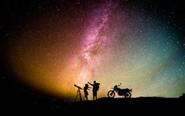 Noche, estrellada, estrellas, cielo, amantes, motocicleta, romántica.