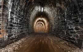Aperçu fond d'écran Nuit, tunnel, lumières, route