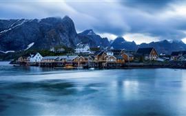 壁紙のプレビュー ノルウェー、ロフォーテン諸島、住宅、海