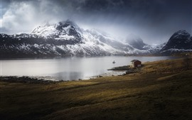 Norway, Marka, Nordland, sea, house, mountains, snow
