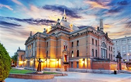 Preview wallpaper Norway, Palace, lights, dusk