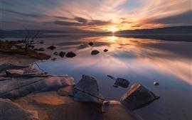Norway, Tyrifjorden, lake, rocks, sunset