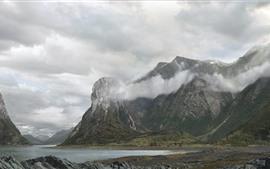 壁紙のプレビュー ノルウェーのフィヨルド、湖、山、霧、朝