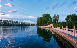 Preview wallpaper Park, lake, bridge, willow, people, China