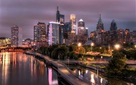 Aperçu fond d'écran Philadelphie, rivière Schuylkill, route, gratte-ciel, lumières, nuit, USA