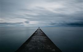 Pier, lake, man