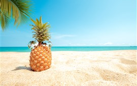 Preview wallpaper Pineapple, sunglasses, beach, palm trees, sea