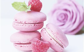Macarons roses, gâteaux, rose