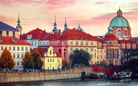 Preview wallpaper Prague, Czech Republic, city, houses, river, boats