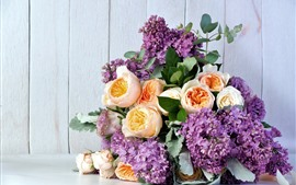 Preview wallpaper Purple lilac and yellow roses, bouquet