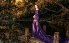 Preview wallpaper Purple skirt girl, pond, dock