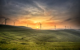 Qinyuan, slope, windmills, sunrise, morning, China