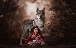 Preview wallpaper Red Hood, child, wolf