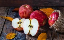 Maçãs vermelhas, metade, fruta, saco